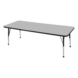 "Rectangle Color-Banded Adjustable-Height Preschool Activity Table (30"" W x 72\"" L) - Gray Nebula top & black edge band, legs & ball glides"