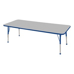 "Rectangle Color-Banded Adjustable-Height Preschool Activity Table (30"" W x 72"" L) - Gray Nebula top & blue edge band, legs & ball glides"