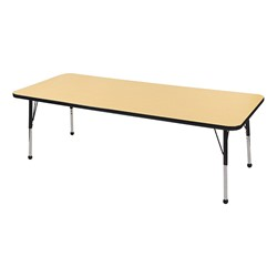 "Rectangle Color-Banded Adjustable-Height Preschool Activity Table (30"" W x 72"" L) - Maple top & black edge band, legs & ball glides"