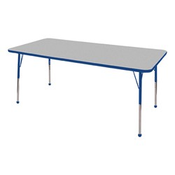 """Rectangle Color-Banded Adjustable-Height Preschool Activity Table (36"""" W x 72"""" L) - Gray Nebula top & blue edge band, legs & ball glides"""
