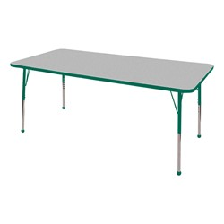 """Rectangle Color-Banded Adjustable-Height Preschool Activity Table (36"""" W x 72"""" L) - Gray Nebula top & green edge band, legs & ball glides"""