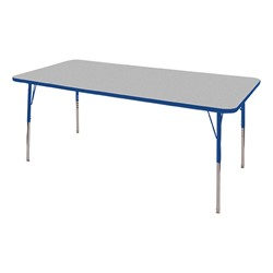 "Rectangle Adjustable-Height Activity Table (60"" W x 36"" D) - Gray top w/ blue edge"