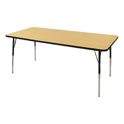"""Rectangle Color-Banded Adjustable-Height Preschool Activity Table (36"""" W x 72"""" L) - Maple top & black edge band, legs & swivel glides"""