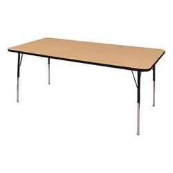 "Rectangle Adjustable-Height Activity Table (60"" W x 36"" D) - Oak top w/ black edge"