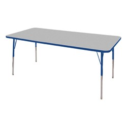"""Rectangle Adjustable-Height Preschool Activity Table (36"""" W x 60"""" L) - Gray top & blue edge band, legs & swivel glides"""