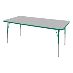 "Rectangle Adjustable-Height Activity Table (60"" W x 36"" D) - Gray top w/ green edge"