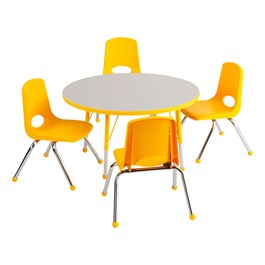 "Round Preschool Matching Table & Four Chairs (36"" Diameter) - Gray Top, Yellow Edge, Yellow Seats"