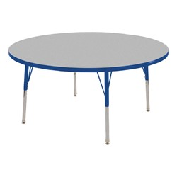 Round Adjustable-Height Activity Table - Gray top w/ blue edge