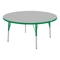 Round Adjustable-Height Activity Table - Gray top w/ green edge