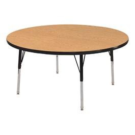 """Round Oak Adjustable-Height Preschool Activity Table (48\"""" Diameter)"""