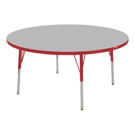 Round Adjustable-Height Activity Table - Gray top w/ red edge