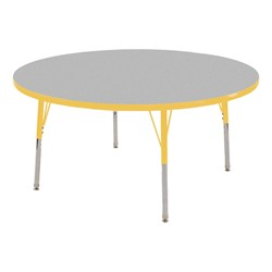 Round Adjustable-Height Activity Table - Gray top w/ yellow edge