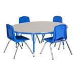 Round Preschool Matching Table & Chair Set - Gray Top, Blue Edge, Blue Seats
