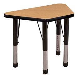 Trapezoid Learning Table - Toddler Height - Oak top & black edge band & chunky legs
