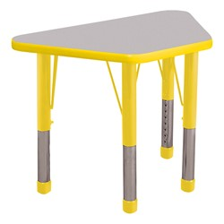 Trapezoid Learning Table - Toddler Height - Gray Nebula top & yellow edge band, legs & ball glides