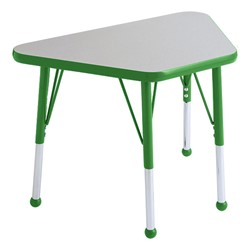 Trapezoid Learning Table - Toddler Height - Gray Nebula top & green edge band, legs & ball glides