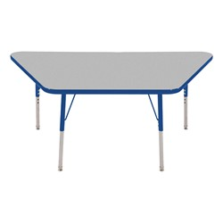 Trapezoid Adjustable-Height Activity Table - Gray top w/ blue edge