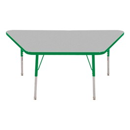 Trapezoid Adjustable-Height Activity Table - Gray top w/ green edge