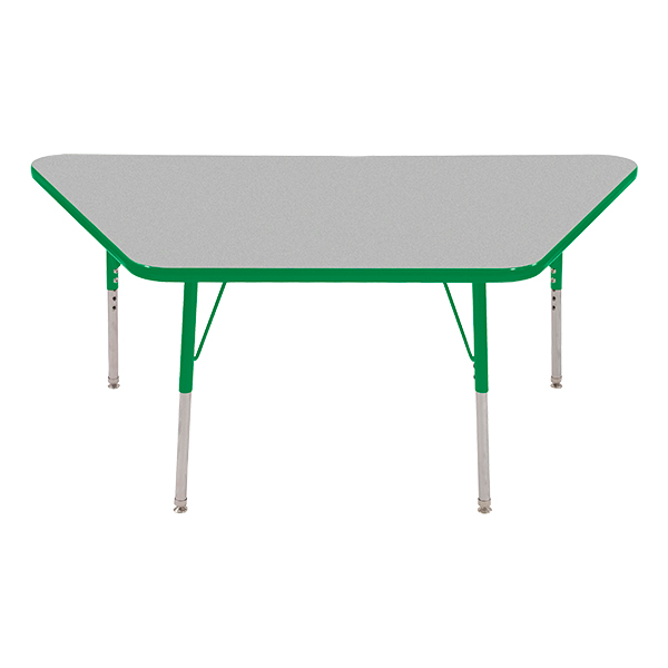 Trapezoid Adjustable Height Activity Table   Gray Top W/ Green Edge