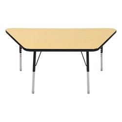 Trapezoid Adjustable-Height Activity Table - Maple top w/ black edge