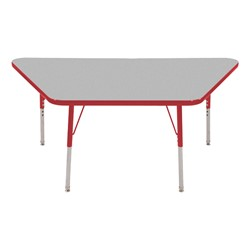 Trapezoid Adjustable-Height Activity Table - Gray top w/ red edge