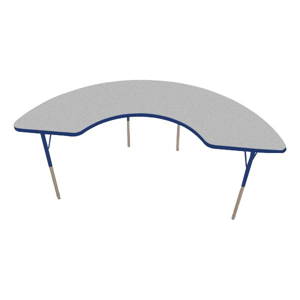 Attrayant Half Moon Adjustable Height Activity Table   Gray Top W/ Blue Edge
