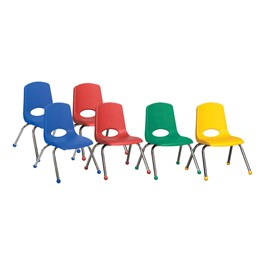 Assorted Primary Colors Stack Chairs w/ Chrome Legs - Pack of Six