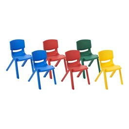 Assorted Primary Colors Resin Chairs - Pack of Six