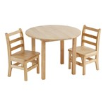 Deluxe Hardwood Round Table w/ Two Chairs