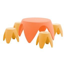 Blossom Table & Four Stools Set - Light Orange & Dark Orange