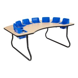 "Toddler Feeding Table w/ Eight Seats (72"" W x 48"" D) - Maple Top/Black Edge Band - Blue Seats"