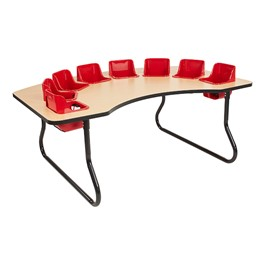 "Toddler Feeding Table w/ Eight Seats (72"" W x 48\"" D) - Maple Top/Black Edge Band - Red Seats"