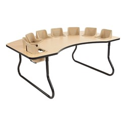 "Toddler Feeding Table w/ Eight Seats (72"" W x 48"" D) - Maple Top/Black Edge Band - Sand Seats"