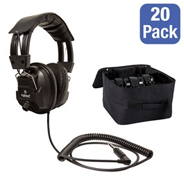 Class Pack: 20 Deluxe Switchable Stereo/Mono Headphones w/ Carrying Case