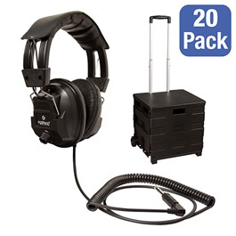 Class Pack: 20 Deluxe Switchable Stero/Mono Headphone & Rolling Tote