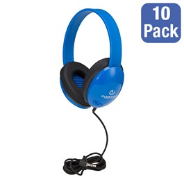 Pack of 10 Preschool Headphones w/ Braided Fabric Cord - Blue