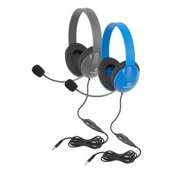Heavy Duty Mobile Ready Kids Headphone W Boom Microphone Tangle Free Fabric Cord At School Outfitters