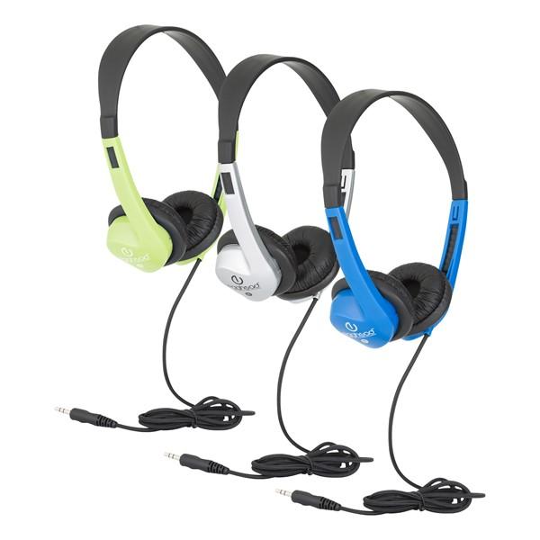 Stereo School Headphones w/ Leatherette Ear Cushion & Tangle-Free Cord