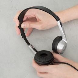 Stereo School Headphones w/ Leatherette Ear Cushion & Tangle-Free Cord - Black