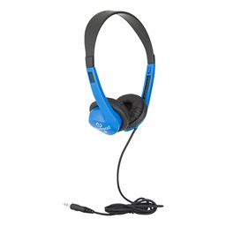 Stereo School Headphones w/ Leatherette Ear Cushion & Tangle-Free Cord - Blue