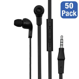 Pack of 50 Earbud Headphones w/ In-Line Mics & Volume Control