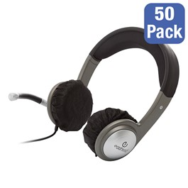 Pack of 50 (25 Pairs) Disposable Ear Cup Covers - For Use w/ Kids\' Headphones, Cushioned Headband Stereo Headphones & Multimedia Headset w/ Volume Control