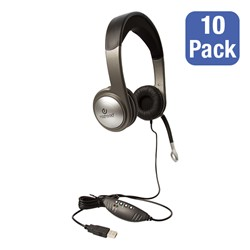 Pack of 10 USB Multimedia Headsets w/ Volume Control