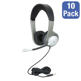 Pack of 10 Mobile-Ready USB Multimedia Headsets w/ Volume Control