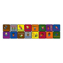Cheerful Friends Learning Carpet Squares - Set of 16