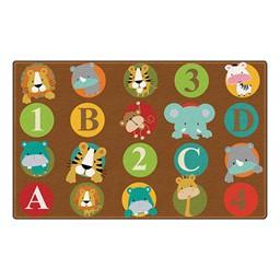 "ABC & 123 Animals Preschool Rug (6' W x 8' 4"" L) - Dark"