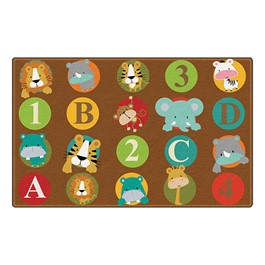 "ABC & 123 Animals Rug (6\' W x 8\' 4"" L) - Dark"