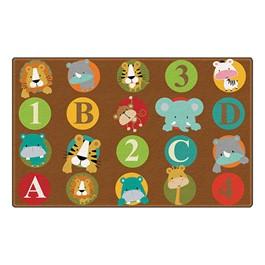 """ABC & 123 Animals Rug (6\' W x 8\' 4\"""" L) - Dark"""