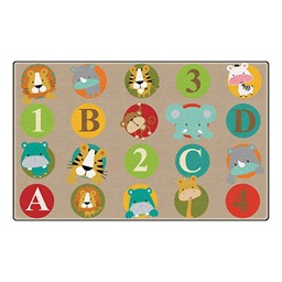 "ABC & 123 Animals Preschool Rug (6' W x 8' 4"" L) - Light"