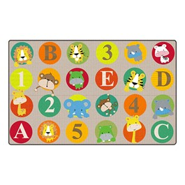 "ABC & 123 Animals Rug (7\' 6"" W x 12\' L) - Light"